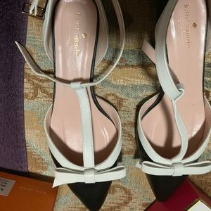 Kate spade black and white flats worn once